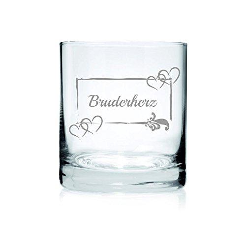Loose Werbetechnik Whiskey Glas mit Gravur für Den Bruder – Hochwertige Lasergravur und Verschiedene Motive!, Glas-Bruder:Bruderherz
