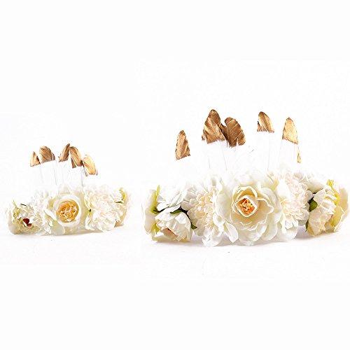 MoonyLI Eltern-Kind-Kinder-Haar-Accessoire Blume Stirnband Krone romantischen böhmischen Stil Haarkranz Band Girlande Kopfbedeckungen für das Festival Hochzeit