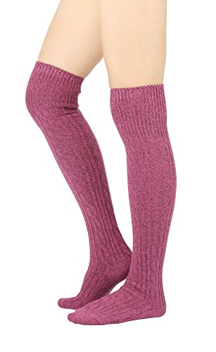 STYLEGAGA Women's Over The Knee High Boot Socks One Size: Xs To M Cozy Cable_Pink (Cable Pink Knit)