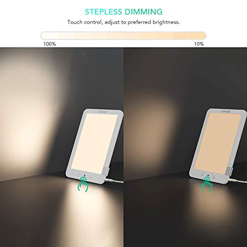 Lampe de luminothérapie 10000Lux 3 Modes d'Eclairage Hommie, SAD Lampe Lumière du Jour Compacte et Bouton tactile-Efficacité thérapeutique prouvée contre les Troubles de Dépression Saisonnière (TAS)