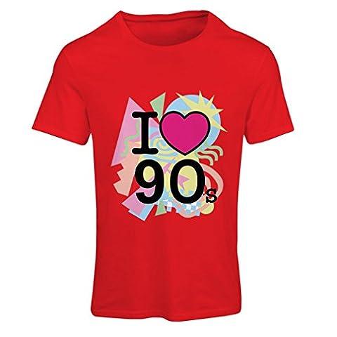 T-shirt femme I Love 90's! - retro style clothing (X-Large Rouge Multicolore)
