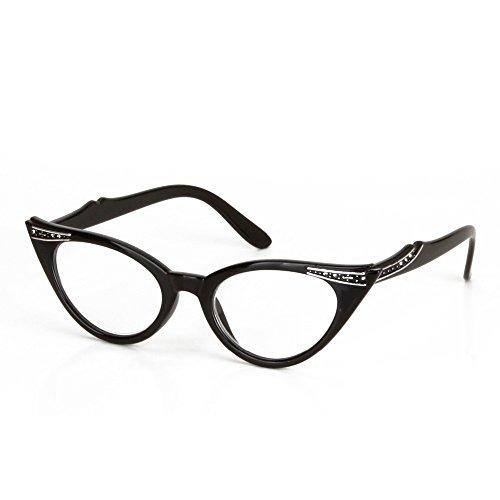 Skitic Fashion Damen Weinlese Katzenaugen Presbyopische Gläser Lesebrillen Katze Auge Vergrößern Lesebrille mit Bohrspitze für Frauen Stärke +1.00 +1.50 +2.00 +2.50 +3.00 +3.50 (Schwarz, +3.00)