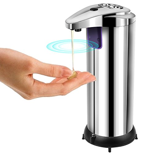 Automatischer Seifenspender, AUKUYEE Sensor Seifenspender Seifen Dispenser aus Edelstahl Badezimmer Spender Berührungsloser Flüssigseifenspender Desinfektionsmittel mit Wasserdichten Basis für Küche und Bad Desinfektionsmittel Shampoo Emulsion (Silber)