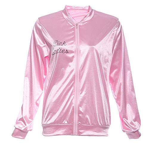 YTWSKCXP Pink Lady Retro Jacke Damen Fancy Grease Kostüm Cheerleader Zipper Slim O Neck Jacke Langarm, XL (Grease Pink Lady Aus Kostüm)