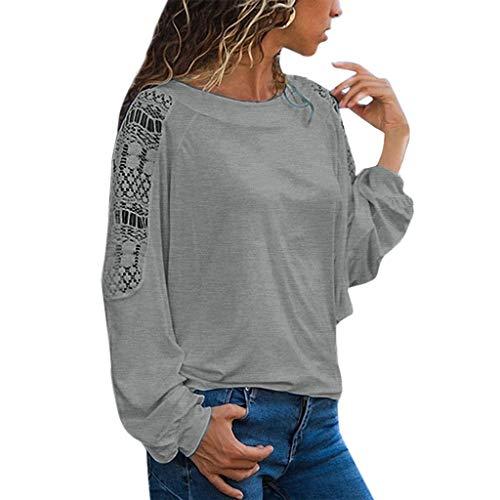 Tohole Damen Sweatshirt Lantern Sve Rundhalsausschnitt Langarm Lose Bluse Strickpulli Hemd Shirt Tops Langarmshirt T-Shirt Spitze Spitzenshirt Top Tunika (Grau,L)