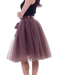 1161963a08 LINNUO Elegante Falda Corto 7 Capa de Gasa Tul Falda Danza Ballet Falda  A-Lìnea Cintura Elástica Tutú…