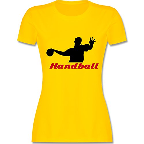 Handball - Handball - tailliertes Premium T-Shirt mit Rundhalsausschnitt für Damen Gelb