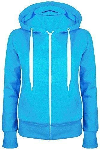 Oops Outlet Damen Einfarbig Kapuzenpulli Mädchen Reißverschluss Top Damen Kapuzenpullis Sweatshirt Mantel Jacke Übergröße 6-24 - Türkis, Small / DE 36 (Sechs Außentaschen)