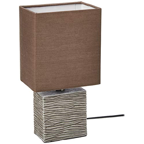 UMI Table Lamp Fabric Shade with Rectangular Wood Base, 11.5''