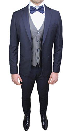 Abito completo uomo sartoriale blu con gilet grigio e papillon in coordinato nuovo elegante cerimonia