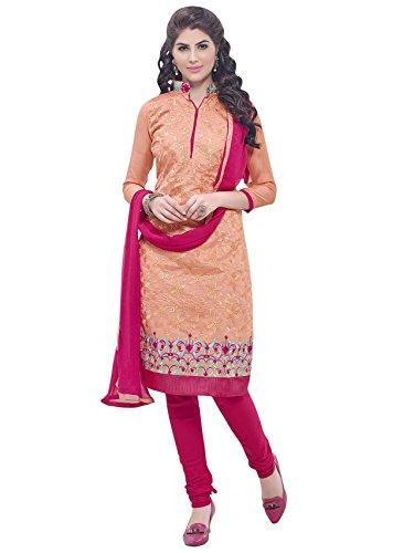 SHYAM FAB Orange Colour Chanderi cotton Dress Material with Dupatta