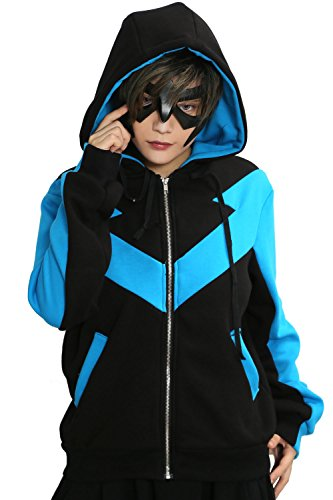 Nightwing Für Jungen Kostüm - Mesky Batman Nightwing Kapuzenpullover Unisex Pullover Warm Sweatshirt aus Baumwolle Fancy Dress Accessories Outdoor Hoodie Bekleidung