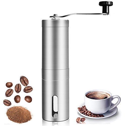 Manuelle Kaffeemühle, Vaxiuja Edelstahl-manuelle Kaffeemühle perfekt für Reisen