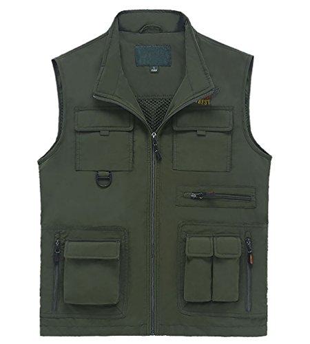 MingTai Ärmellose Jacken Thermo Weste Multi-Tasche Outdoor Jacket Armee Grün