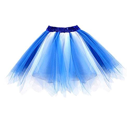 Petticoat 50er Rockabilly Jahre Retro Tutu Ballet Tüllrock Cosplay Crinoline Blau-weiß Large/X-Large ()