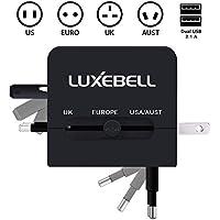 Luxebell® adattatore universale (UK USA EURO Aust) + doppia porta USB Universale World Wide internazionale caricatore portatile adattatore Converter per Stati Uniti Regno Unito UE All-In-One spina