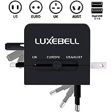 Luxebell® adattatore universale (UK USA EURO Aust) + doppia porta USB Universale World Wide internazionale caricatore di corsa di corrente alternata adattatore Converter per Stati Uniti Regno Unito UE All-In-Onespina