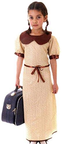 Karnevalsbud - Mädchen Kostüm 2. Weltkrieg mit Kleid, 146/152, Beige