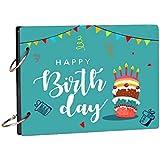 100yellow® Happy Birthday Wooden Photo Album Scrapbook for Memories & Gifting (21.7 cm X 15.7 cm, Blue)