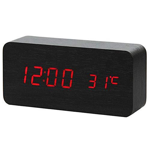 Sinzong Reloj Despertador Control De Sonido Reloj De Madera ...