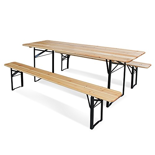 Juego de mesa y 2 bancos de madera plegable, de 220x 70x...