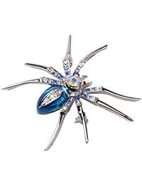 Glänzend Spinne Klammer Nadel Brosche w/ Strasssteinen - Blau