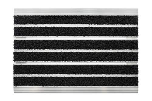 acerto 31857 Fußabstreifer Metall für außen & innen - Fußabtreter aus Aluminium mit Brushvelours, 40x60 cm