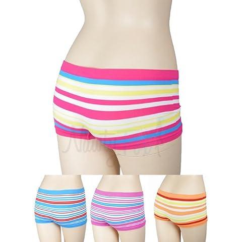 NawtyFox Striped Lycra Seamless Color Boyshort Panties