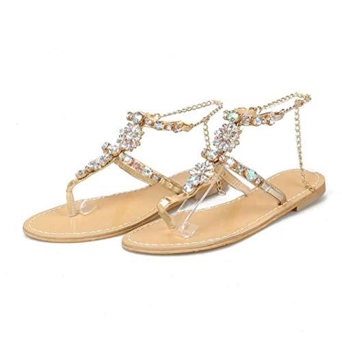 Frauen-Gladiator-T-Bügel-Flache Sandalen, die Rhinestones-Ketten glänzen, gleiten auf Zapfen-Flipflops-Sommer-Strand-Schuhen 5-zoll-clear-mule