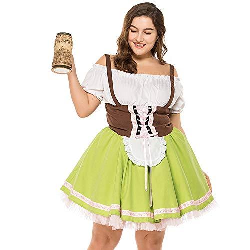 ToDIDAF Große Kleid mit Verband für Damen Frau Mädchen Oktoberfest Thema Bardame Cosplay Kostüme für Halloween Oktoberfest Grün XXL
