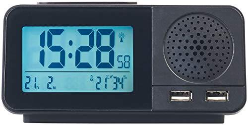 auvisio Funkuhrenradio: Funk-Radiowecker mit 2 Weckzeiten, Hygro- & Thermometer, 2X USB, 2 A (Radiowecker Batterie)