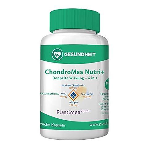 ! GEGEN GELENKBESCHWERDEN ! Das einzige 4 in 1 am Markt - CHONDROMEA NUTRI + FORTE: Chondroitin+Glucosamin+MSM+Mangan – EINZIGARTIGE FORMEL zur Linderung Ihrer Gelenkschmerzen – 120 hochdosierte Kapseln – rein pflanzlich – REINSUBSTANZ - frei von Zusatzstoffen - Herstellung in Frankreich (HAACP-Garantie)