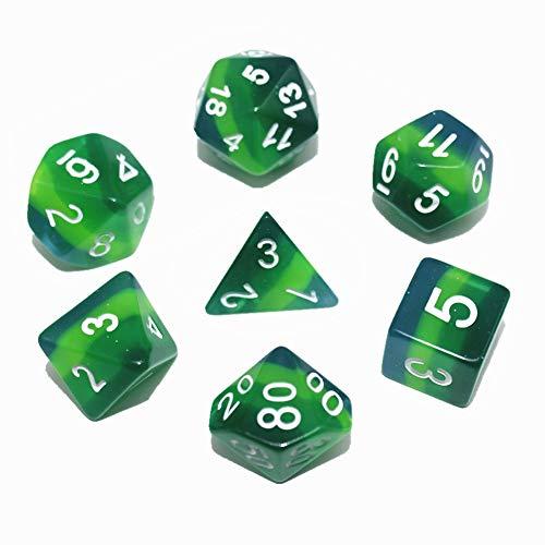 Flexble DND Polyhedralwürfel Set Grün Durchsichtige Würfel für Dungeons und Drachen (D & D) Pathfinder RPG MTG Mathe Rollenspiel Brettspiele Tischspiele