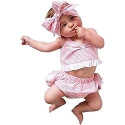 Covermason Bebé Niñas Bowknot Camiseta y Pantalones cortos y Venda(1 Conjunto) (12-18M, Rosado)
