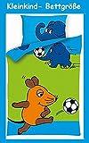 Aminata Kids - Kinder-Bettwäsche 100-x-135 cm Lizenz Sendung mit der Maus-Motiv Baby-Bettwäsche Elefant Ente Blauer Elefant 100-% Baumwolle hell-blau grün Fussball