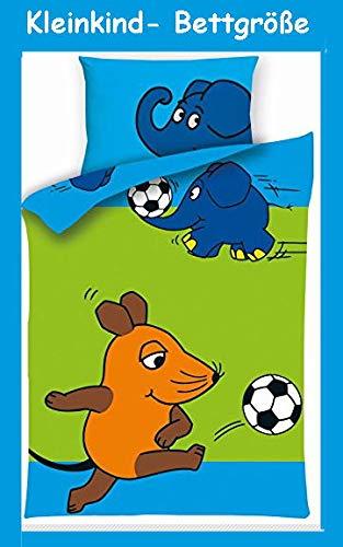 Aminata Kids - Kinder-Bettwäsche 100-x-135 cm Lizenz Sendung mit der Maus-Motiv Baby-Bettwäsche Elefant Ente Blauer Elefant 100-% Baumwolle hell-blau grün Fussball...