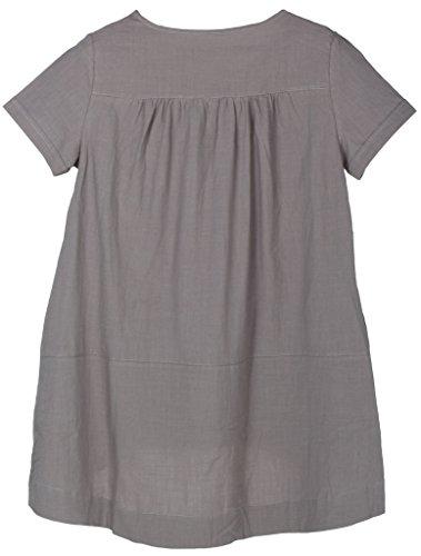 MatchLife Damen T-Shirt Top Kurze Ärmel Leinen und Baumwolle Bluse Grau