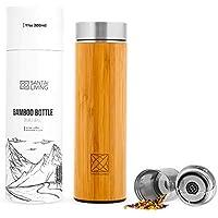 Santa Living Botella Aislada Por Vacío De Bambú | 500 ml Bottle con Colador de Té | Vaso de Acero Inoxidable Sin BPA | Infuser de Fruta | Doble Pared Botella De Agua | Vaso Travel