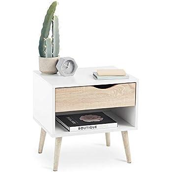 Chêne Modernes Lignes Table Scandinave Et EffilésStyle Vonhaus SonomaPieds De Blanche Aspect 1 — Coniques Chevet Tiroir Étagère rCxedWBo