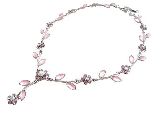 Glitzernde, femminile catena (lunghezza regolabile) con rosa fiori in cristalli di swarovski