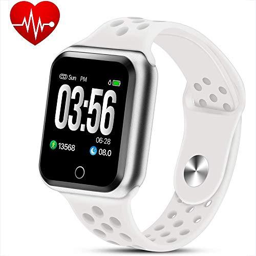 WQWEAQA Fitness Tracker Watch, attività Trackers con Heart Rate Monitor di Pressione sanguigna, Abbigliamento Elegante Bracciale Impermeabile Watch Sonno Monitor Calorie Counter,White+Silv