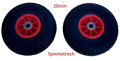 Preisvergleich Produktbild 2 x Profi PU Rad 260mm Sackkarrerad Pannensicher Vollgummi Kunststofffelge (20mm symmetrisch)