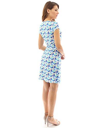 PattyBoutik Damen modisches alltags Wickelkleid mit V-Ausschnitt und kurzen Ärmeln blau, grün und beige