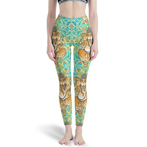 NeiBangM High Elastic Yoga Pant Damen Yoga Elephant Yogahose für Athletische White xs
