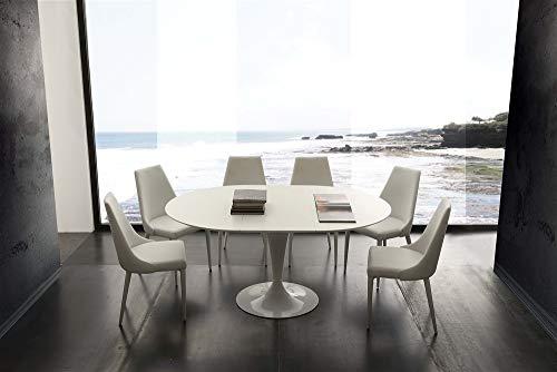 Tavolo rotondo allungabile in legno - Trivor,  Piano laccato bianco
