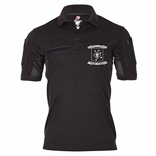 Tactical Poloshirt Alfa - USMC Marine Raiders United States Marine Corps Logo Totenschädel Ledernacken Pazifik #19154, Größe:XXL, Farbe:Schwarz -