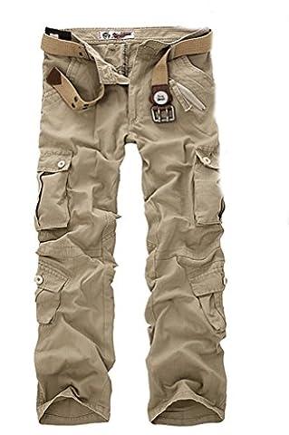 Ghope Vintage Cool d'été Homme Style Militaire Cargo Shorts Sports de Combat Casual Pantalon Oversize, Khaki 33