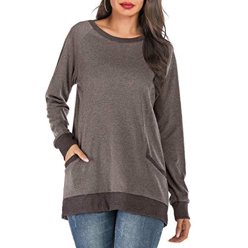GOKOMO Frauen Langarm V-Ausschnitt Patchwork Pullover T-Shirt Bluse Tops Frauen Langarm V-Ausschnitt Panel Hooded Thumb Hooded Top(Braun-A,Medium)