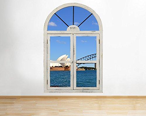 tekkdesigns r839Sydney Australia viaje mar ventana Pared 3d para pared pegatinas vinilo habitación