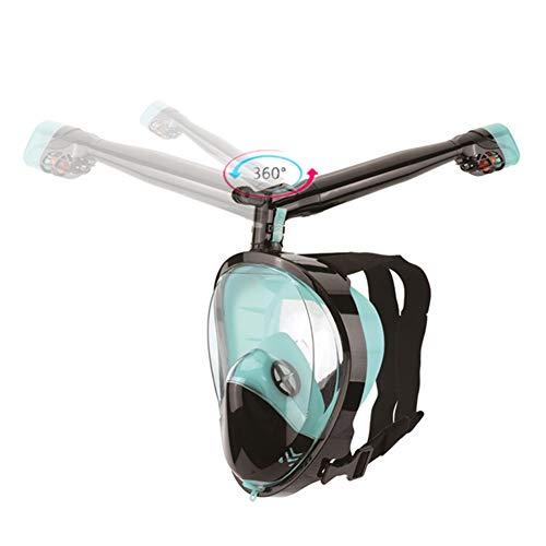 TZTED Masque De Plongée 360 °Tourner Tube Respiratoire Masque Snorkeling Plein Visage 180° Visible Anti-Buée Anti-Fuite sous-Marine Snorkel Masque pour Enfants Et Adultes,C,S/M